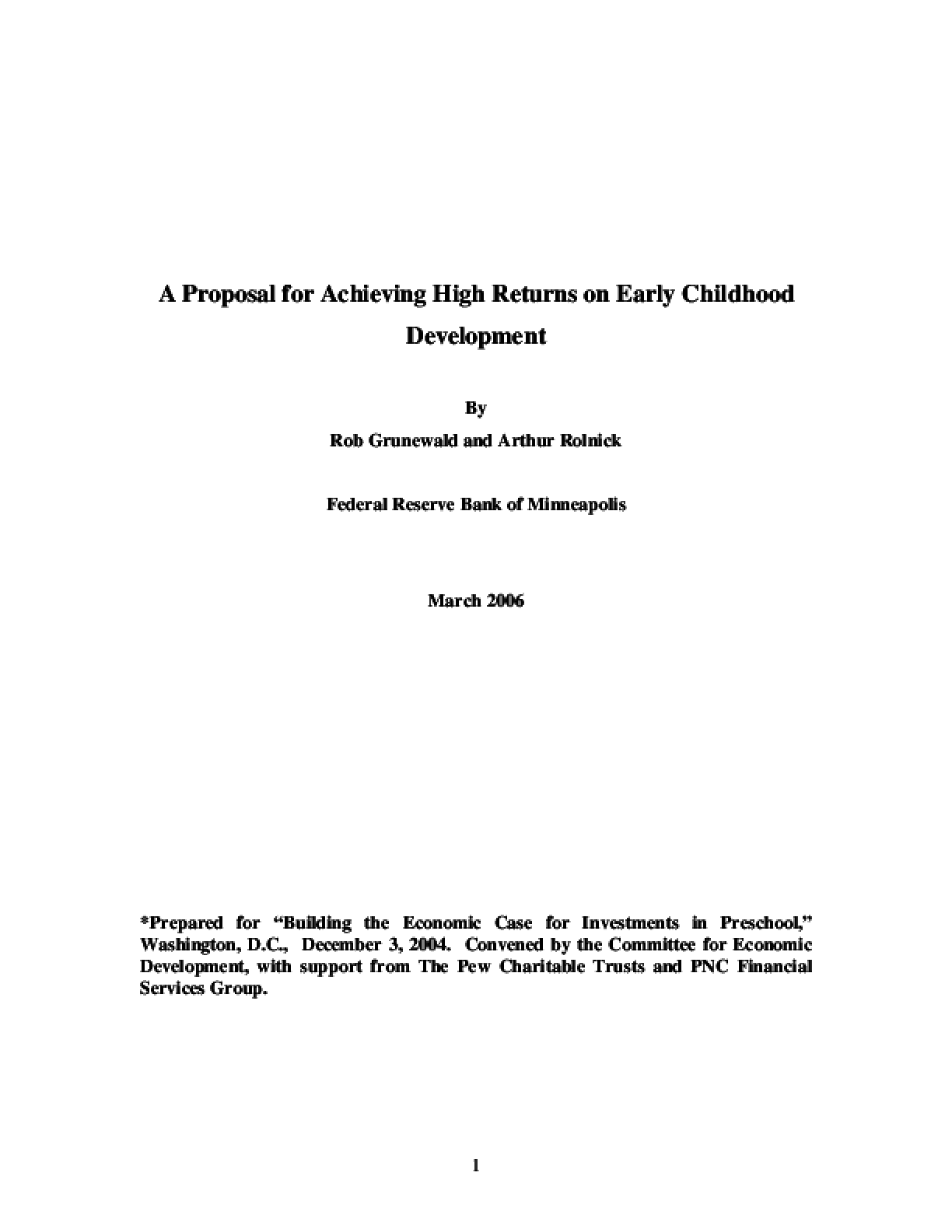 A Proposal for Achieving High Returns on Early Childhood Development