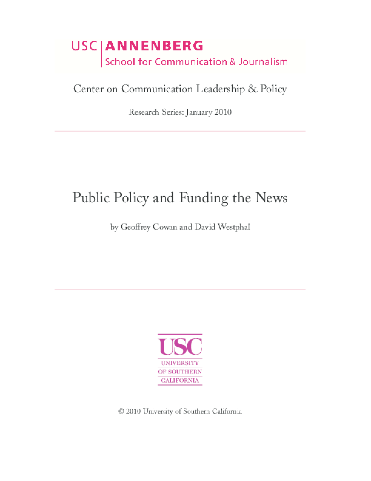 Public Policy and Funding the News