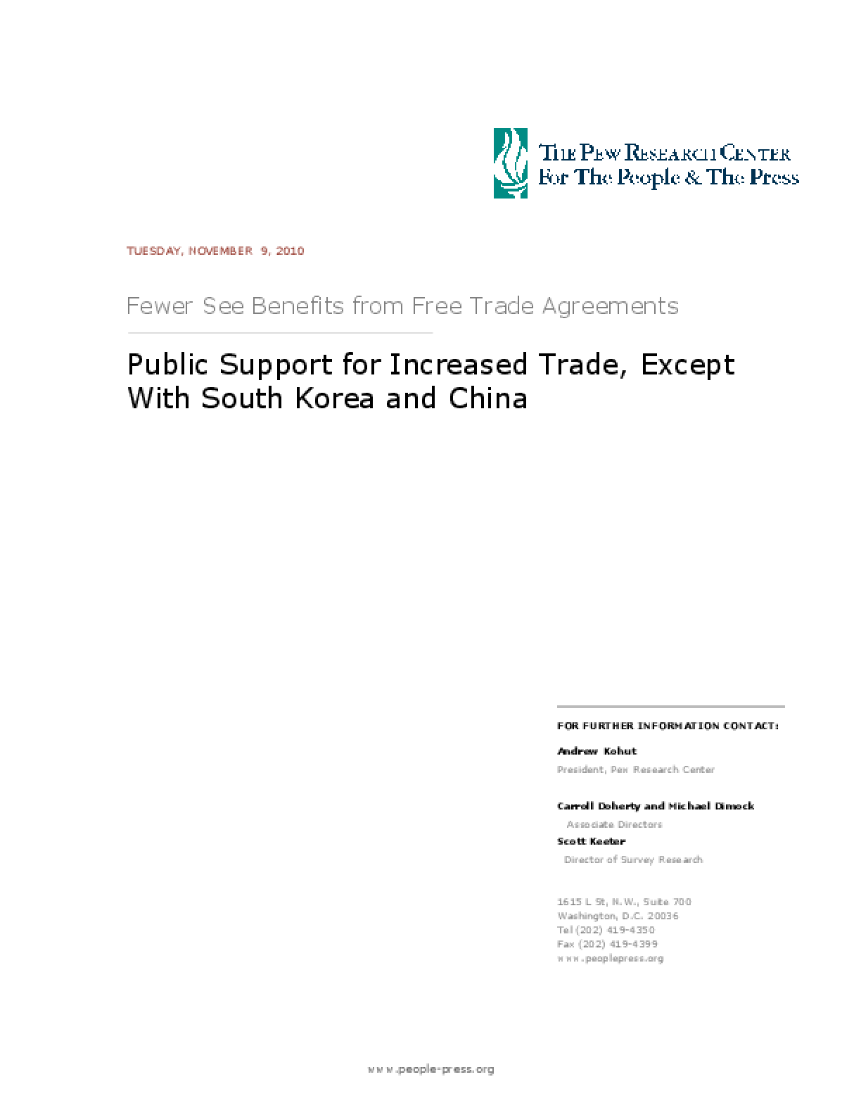 Public Support for Increased Trade, Except With South Korea and China