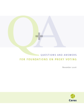 Questions and Answers for Foundations on Proxy Voting