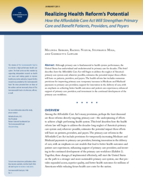 Realizing Health Reform's Potential: How the Affordable Care Act Will Strengthen Primary Care and Benefit Patients, Providers, and Payers