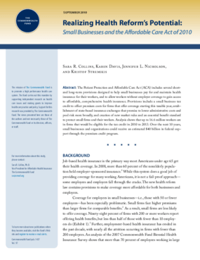 Realizing Health Reform's Potential: Small Businesses and the Affordable Care Act of 2010