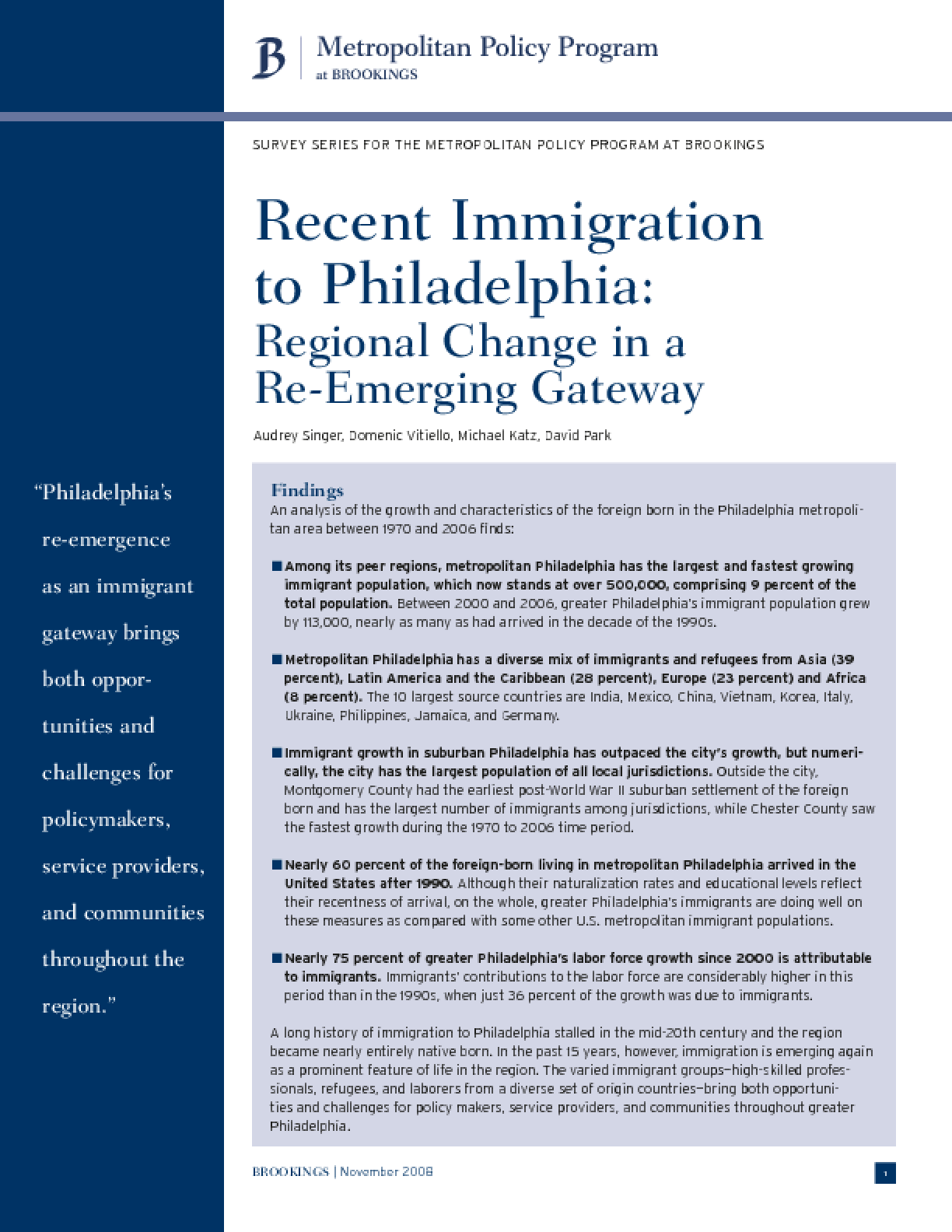 Recent Immigration to Philadelphia: Regional Change in a Re-Emerging Gateway