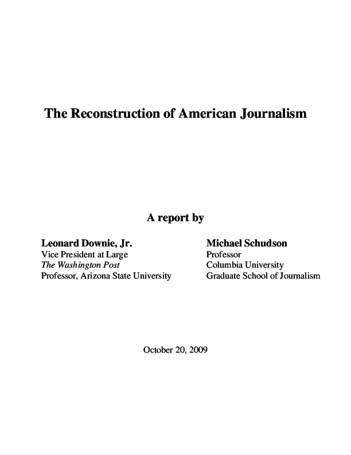 The Reconstruction of American Journalism