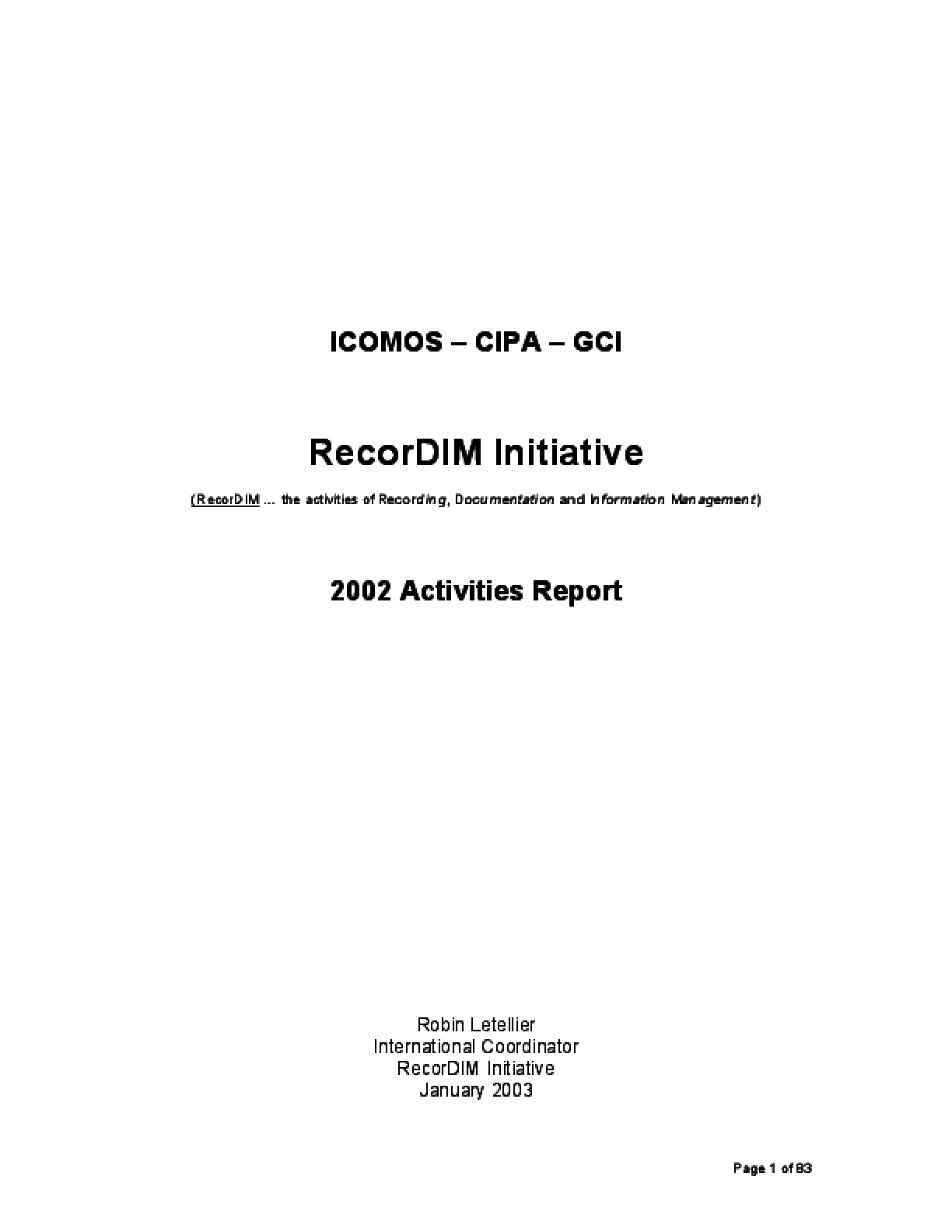 RecorDIM 2002 Activities Report