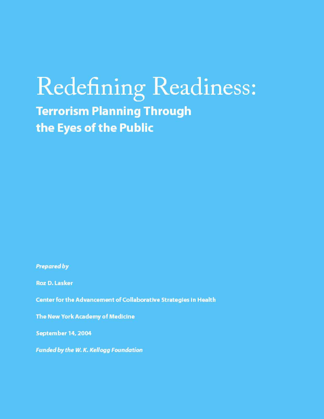 Redefining Readiness: Terrorism Planning Through the Eyes of the Public