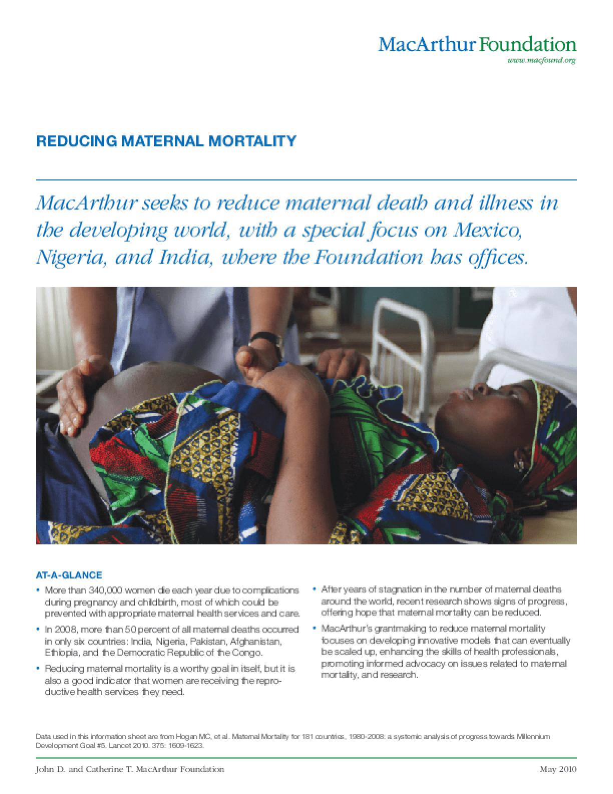 Reducing Maternal Mortality