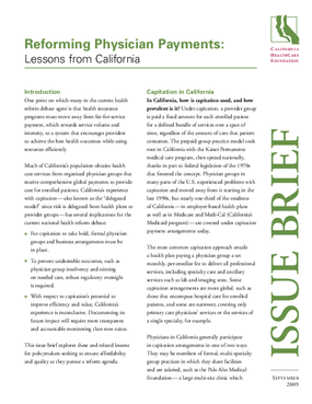 Reforming Physician Payments: Lessons From California
