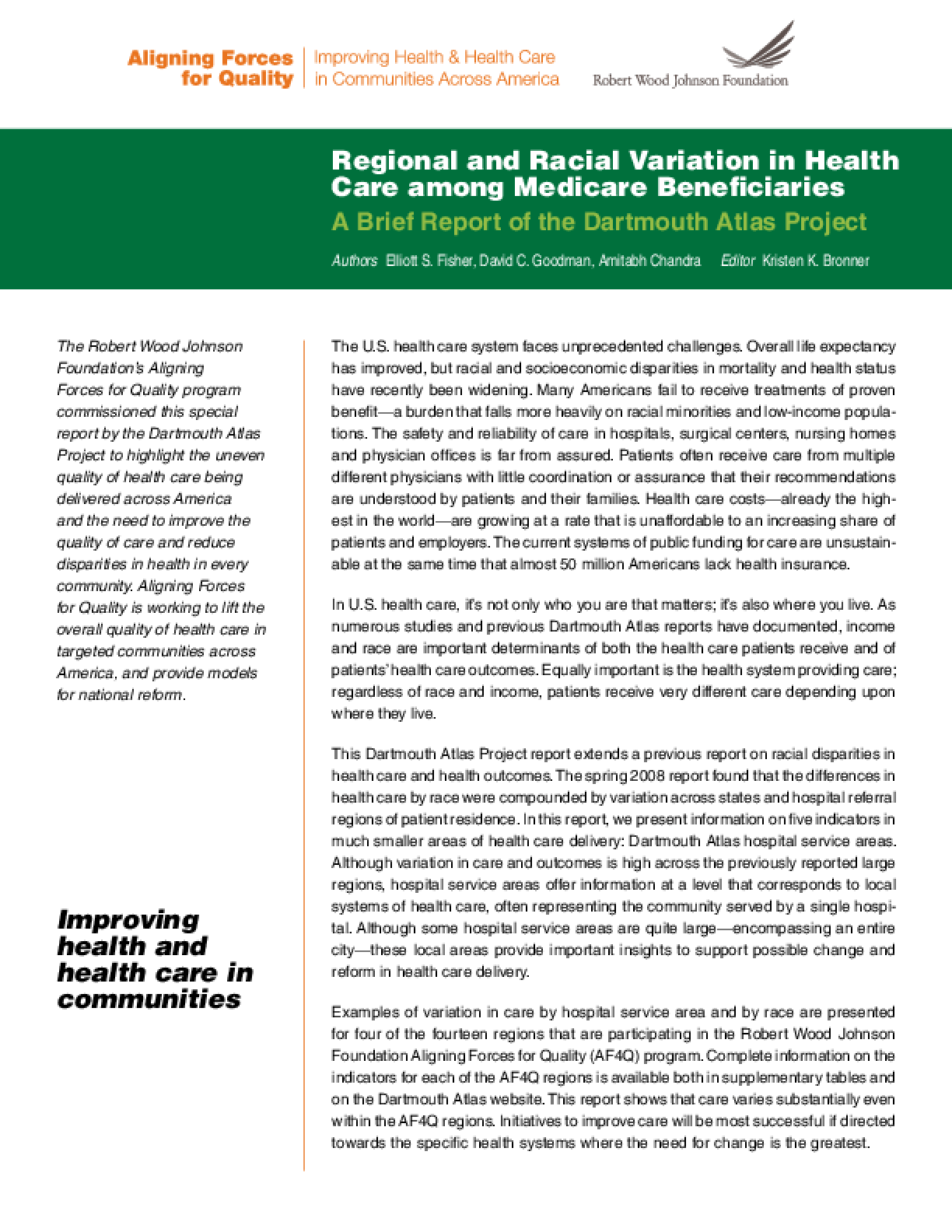 Regional and Racial Variation in Health Care Among Medicare Beneficiaries