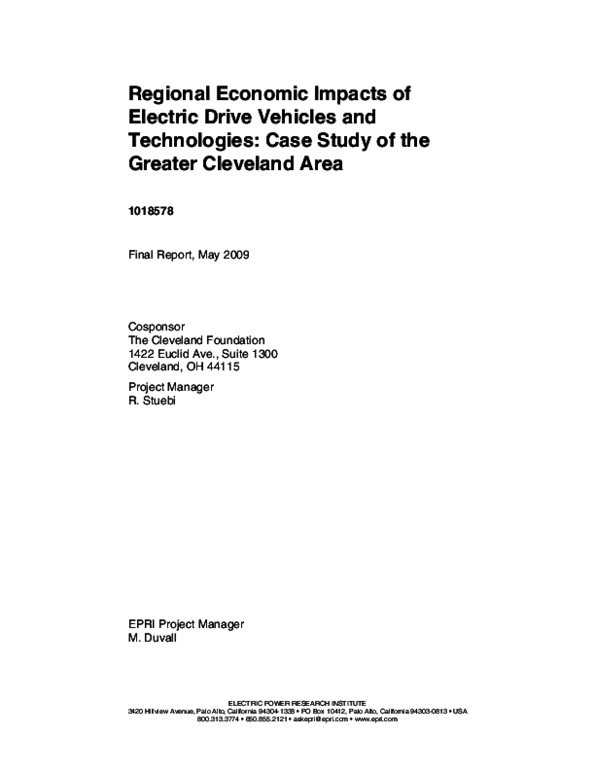 Regional Economic Impacts of Electric Drive Vehicles and Technologies: Case Study of the Greater Cleveland Area