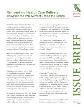 Reinventing Health Care Delivery: Innovation and Improvement Behind the Scenes