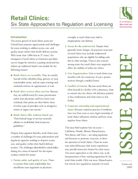 Retail Clinics: Six State Approaches to Regulation and Licensing
