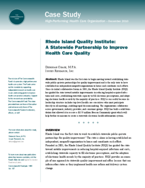 Rhode Island Quality Institute: A Statewide Partnership to Improve Health Care Quality