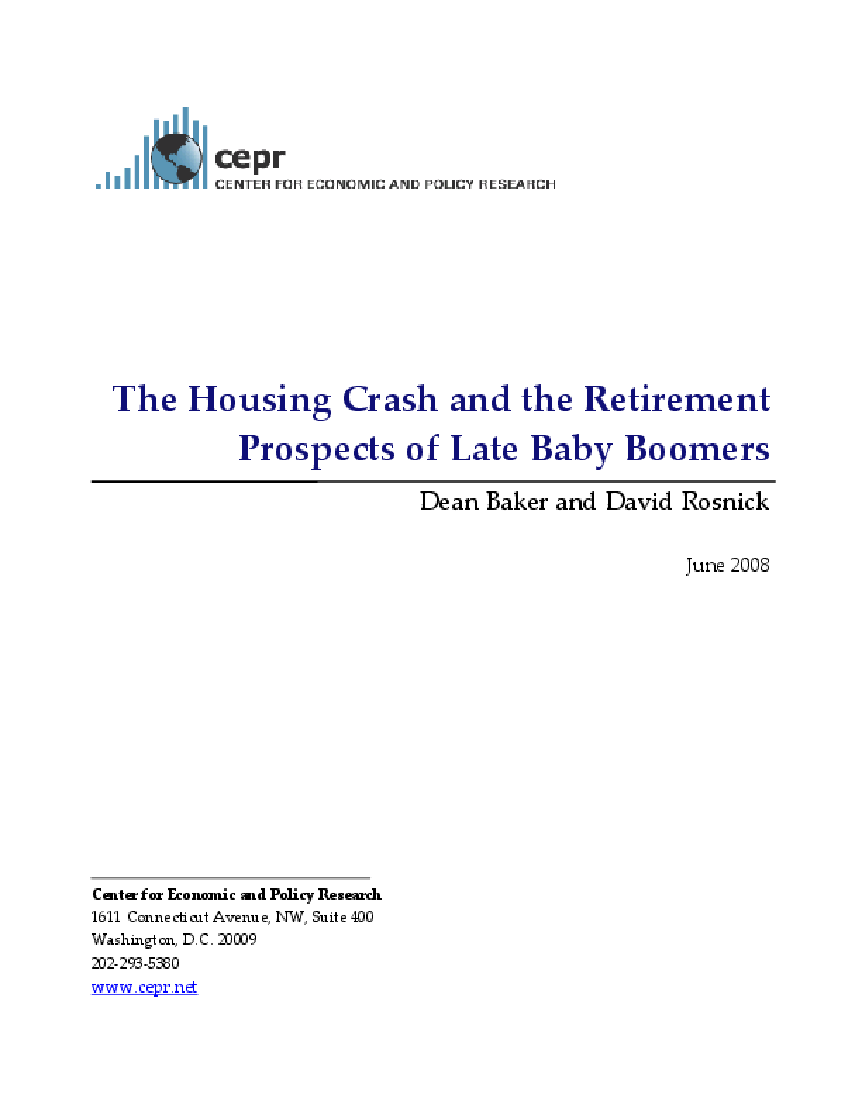 The Housing Crash and the Retirement Prospects of Late Baby Boomers