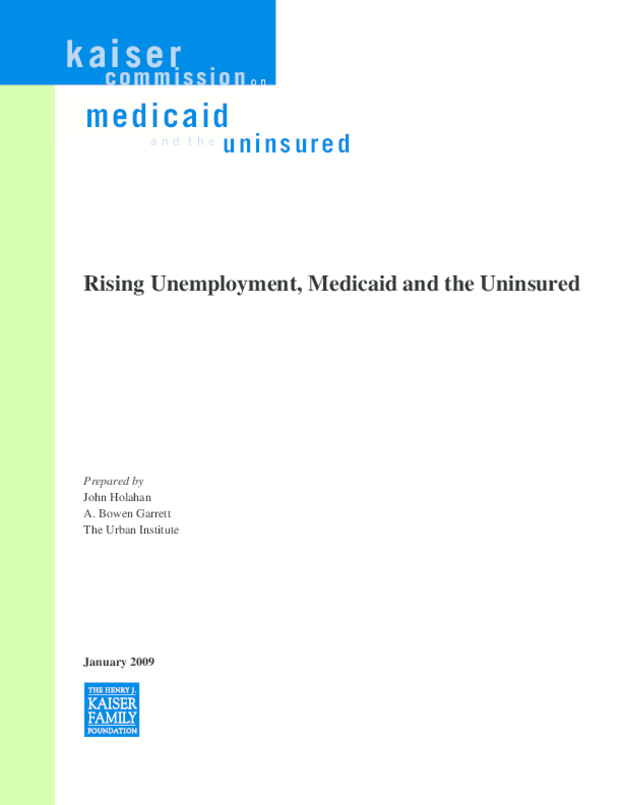 Rising Unemployment, Medicaid and the Uninsured