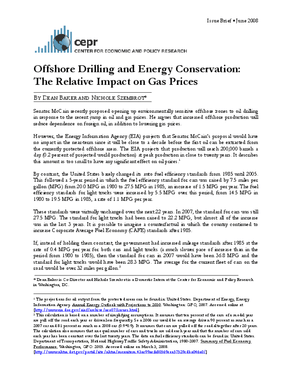Offshore Drilling and Energy Conservation: The Relative Impact on Gas Prices