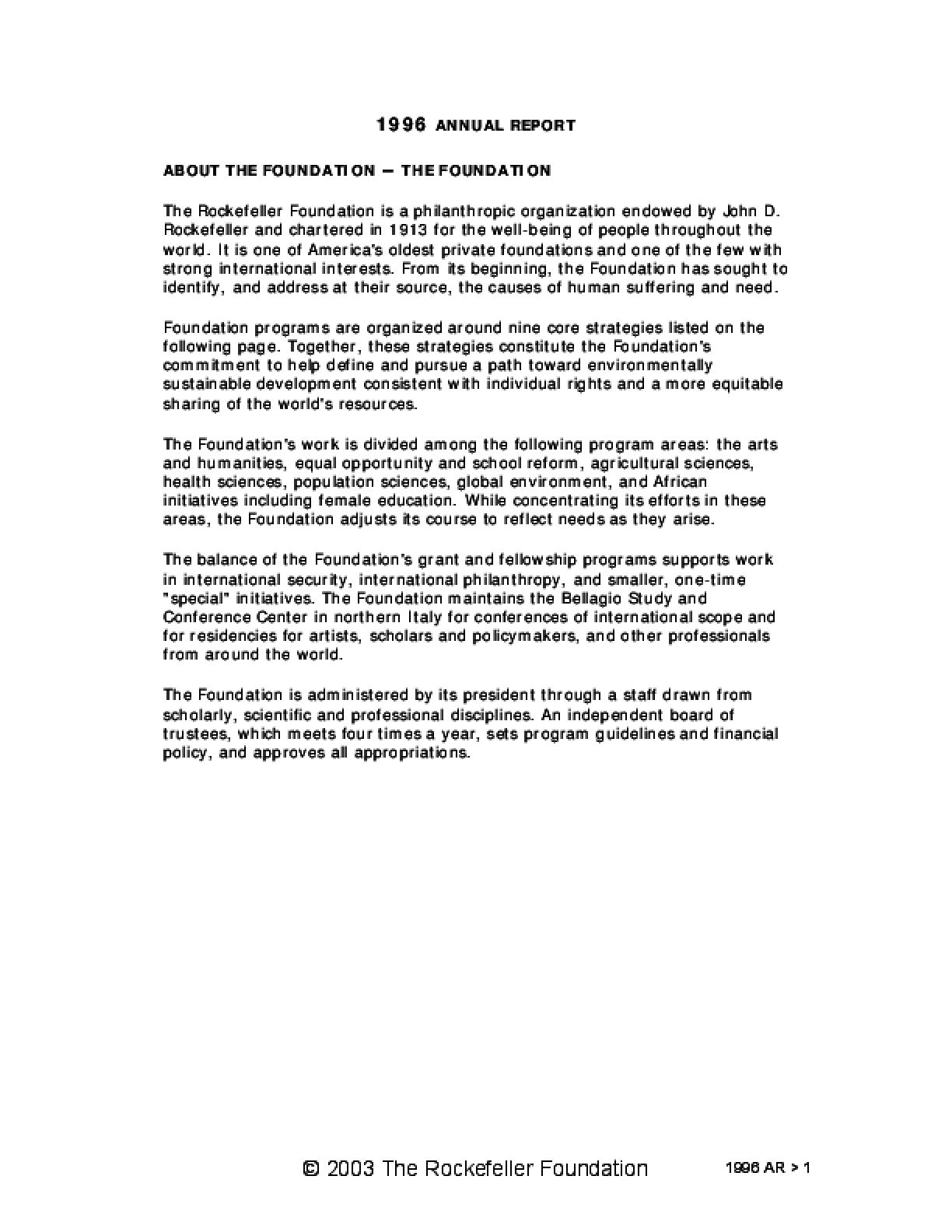Rockefeller Foundation - 1996 Annual Report