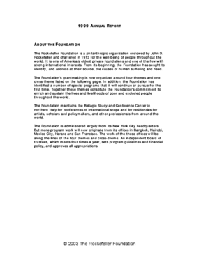 Rockefeller Foundation - 1999 Annual Report