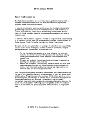 Rockefeller Foundation - 2000 Annual Report