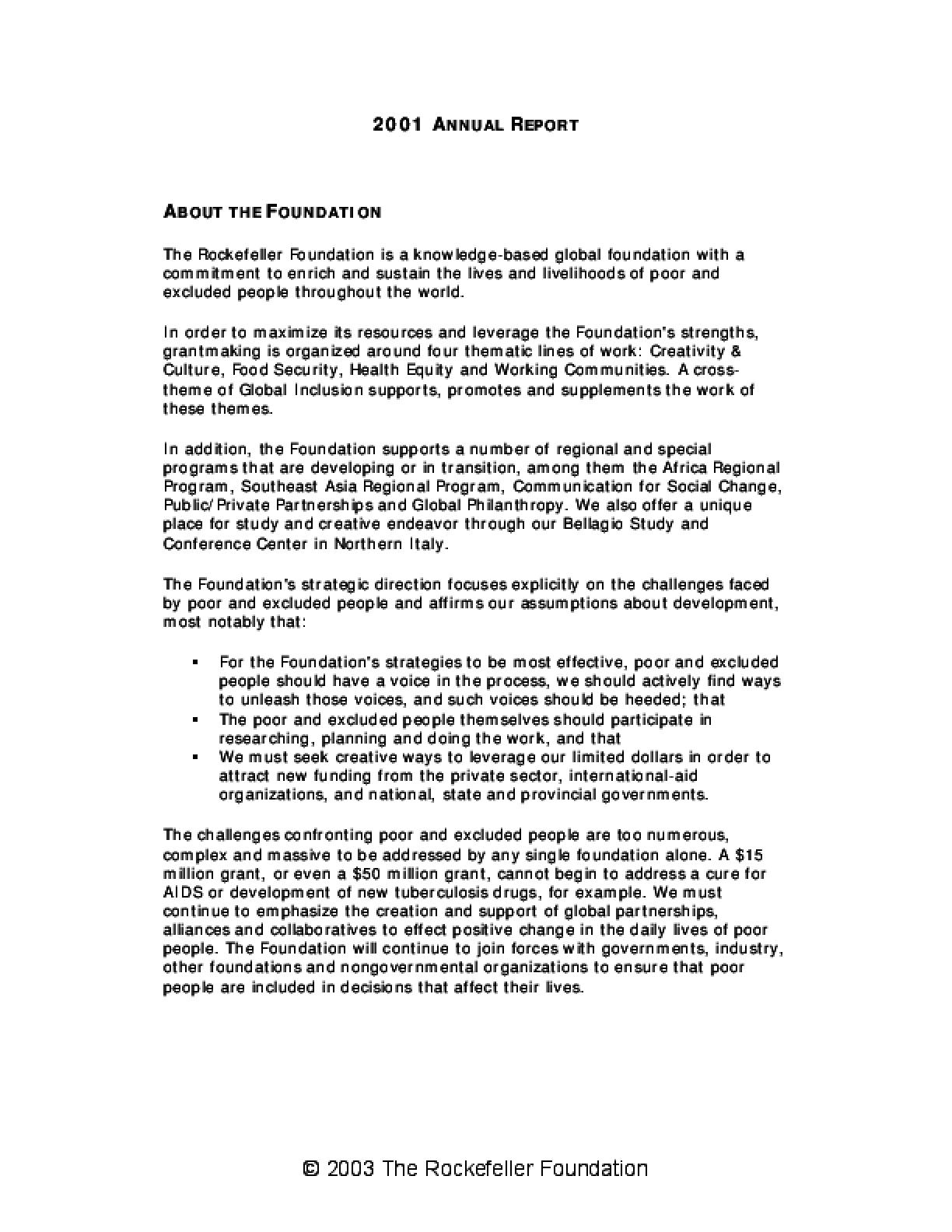 Rockefeller Foundation - 2001 Annual Report