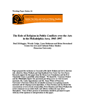 The Role of Religion in Public Conflicts Over the Arts in the Philadelphia Area, 1965-1997