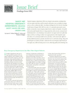 Safety Net hospital Emergency Departments: Creating Safety Valves for Non-urgent Care