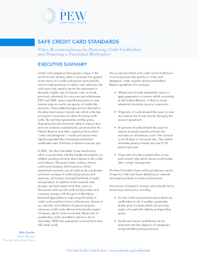 Safe Credit Card Standards: Policy Recommendations for Protecting Credit Cardholders and Promoting a Functional Marketplace
