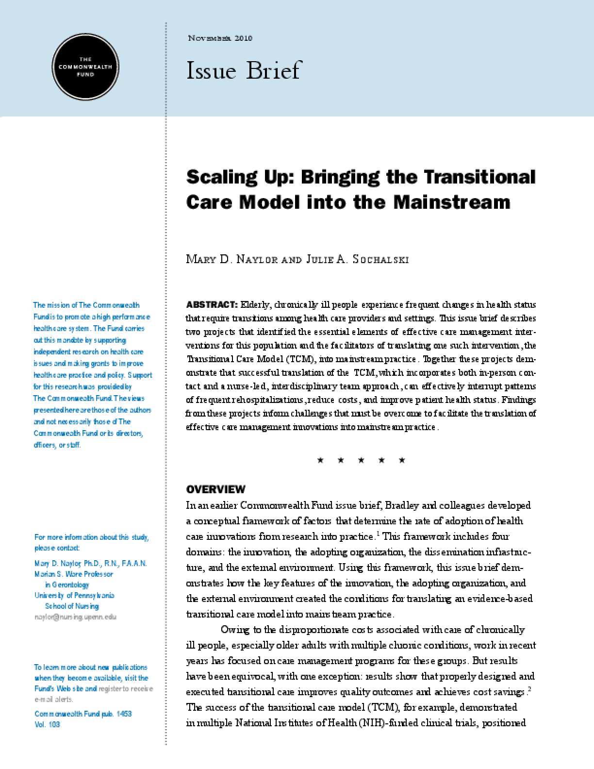 Scaling Up: Bringing the Transitional Care Model Into the Mainstream