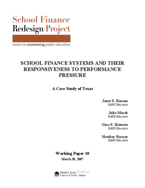 School Finance Systems and Their Responsiveness to Performance Pressures: A Case Study of Texas