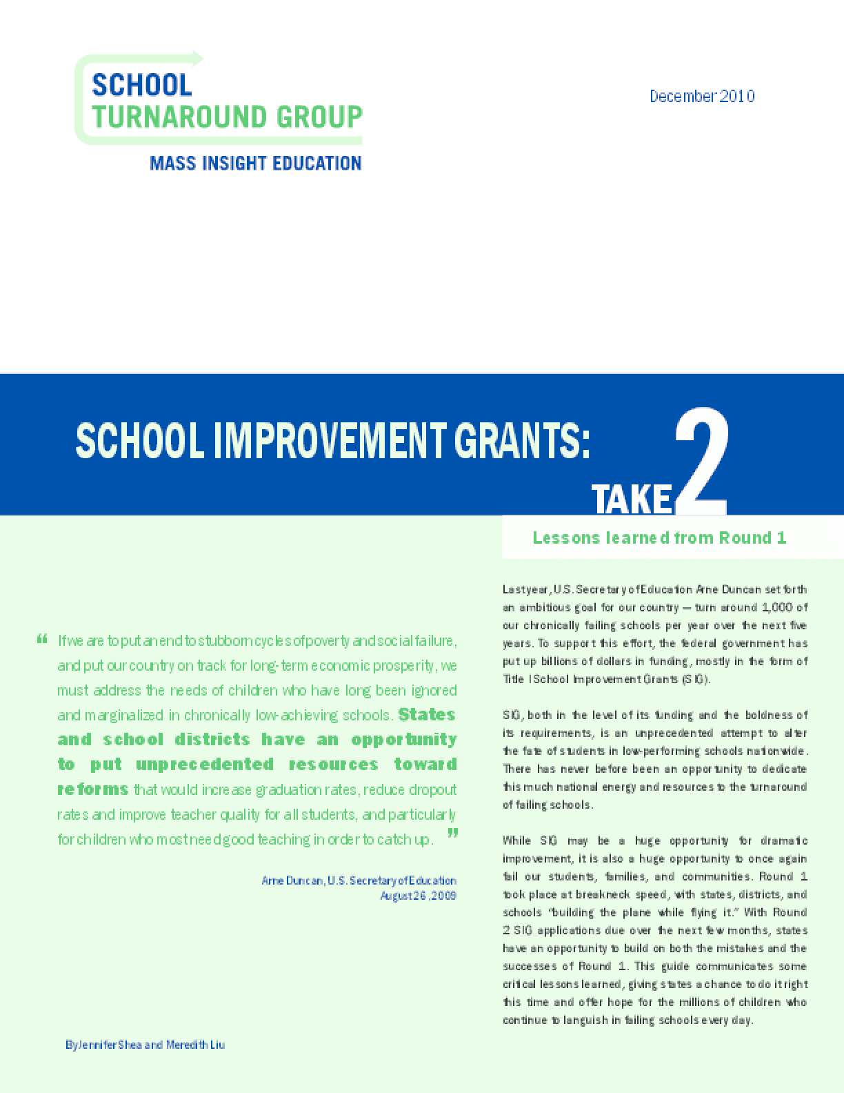 School Improvement Grants: Take 2
