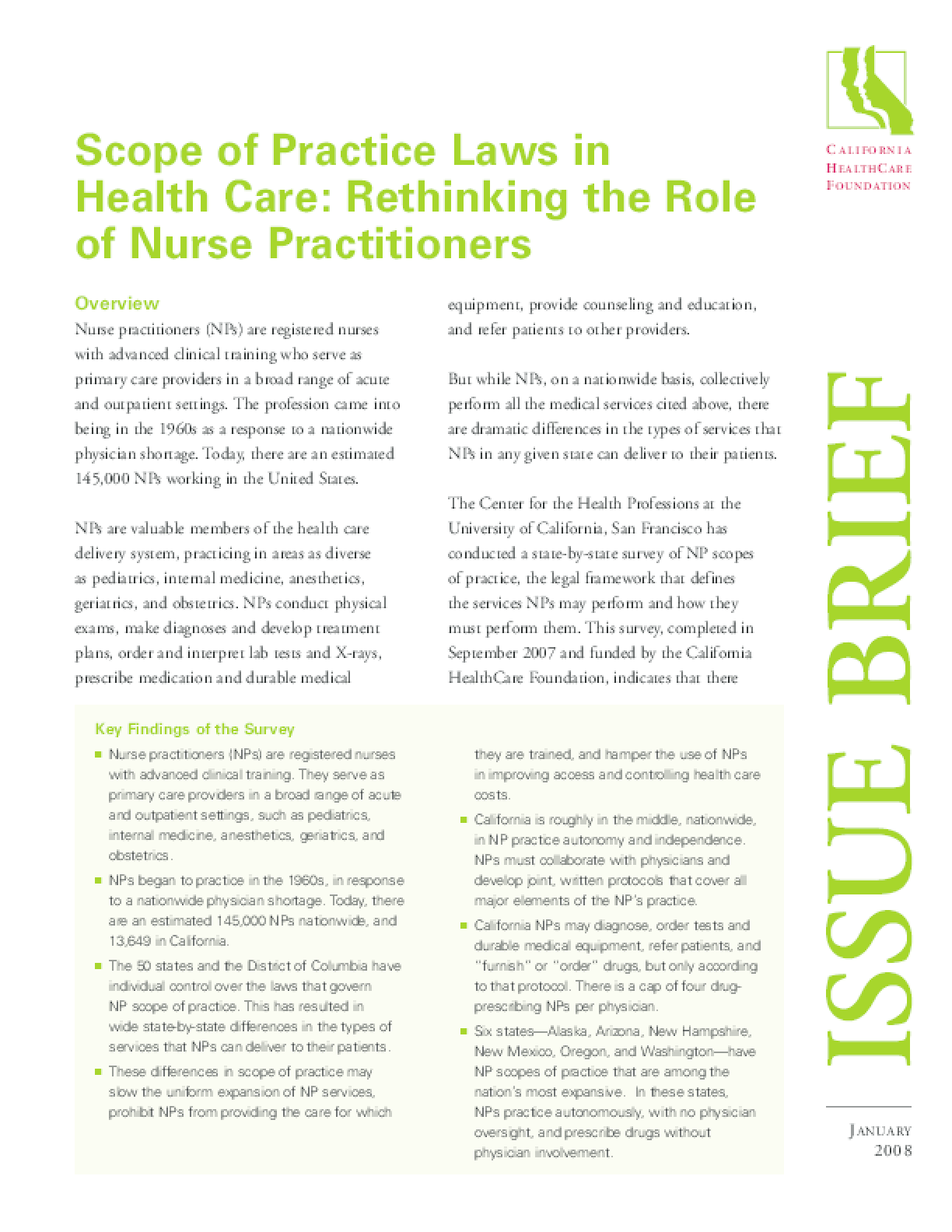 Scope of Practice Laws in Health Care: Rethinking the Role of Nurse Practitioners