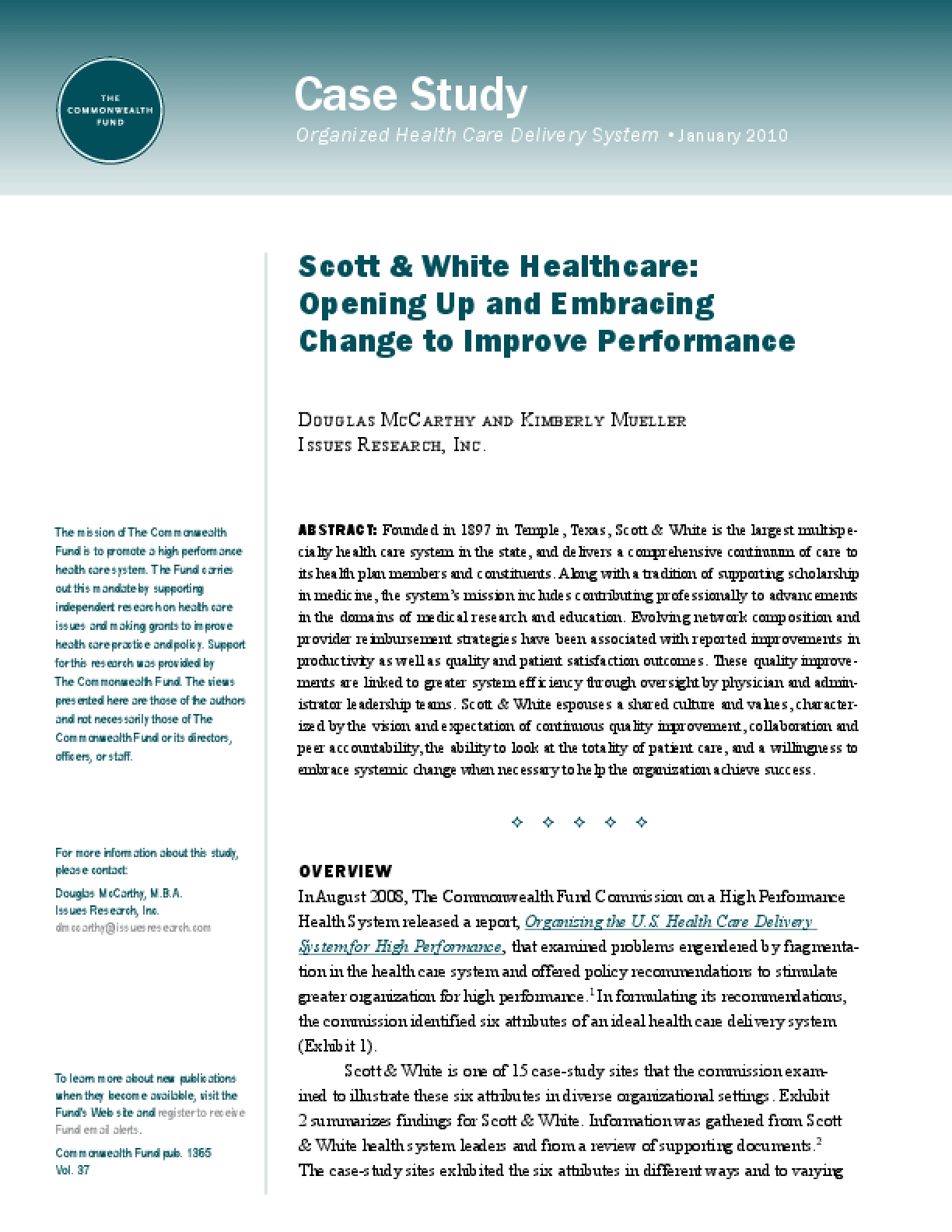 Scott & White Healthcare: Opening Up and Embracing Change to Improve Performance