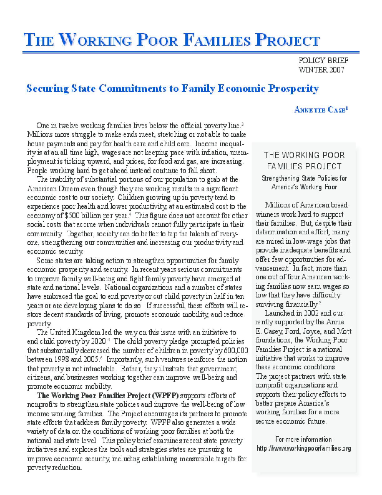 Securing State Commitments to Family Economic Prosperity