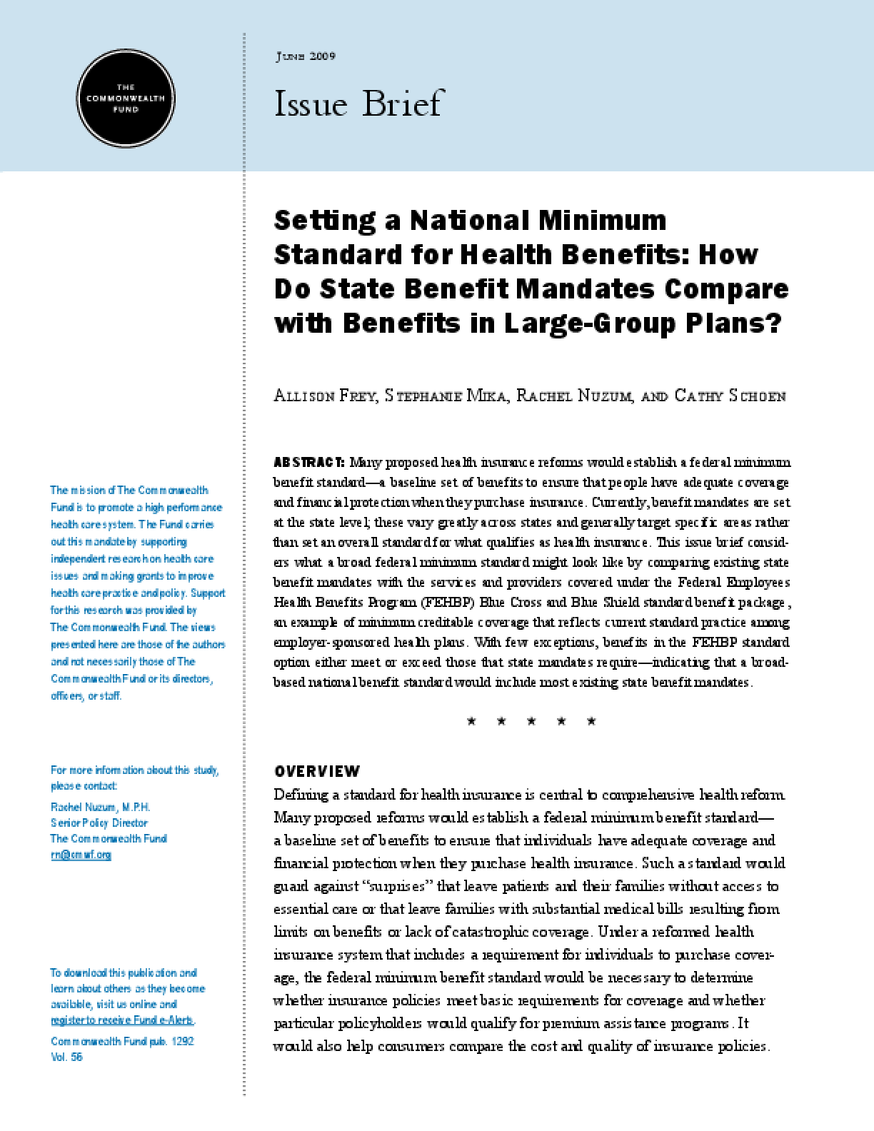Setting a National Minimum Standard for Health Benefits: How Do State Benefit Mandates Compare With Benefits in Large-Group Plans?