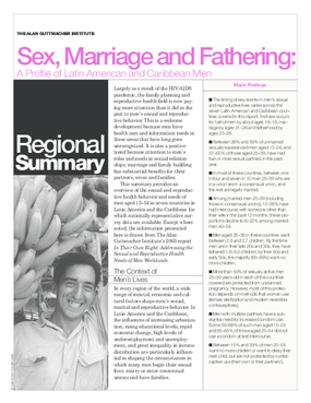 Sex, Marriage and Fathering: A Profile of Latin American and Caribbean Men