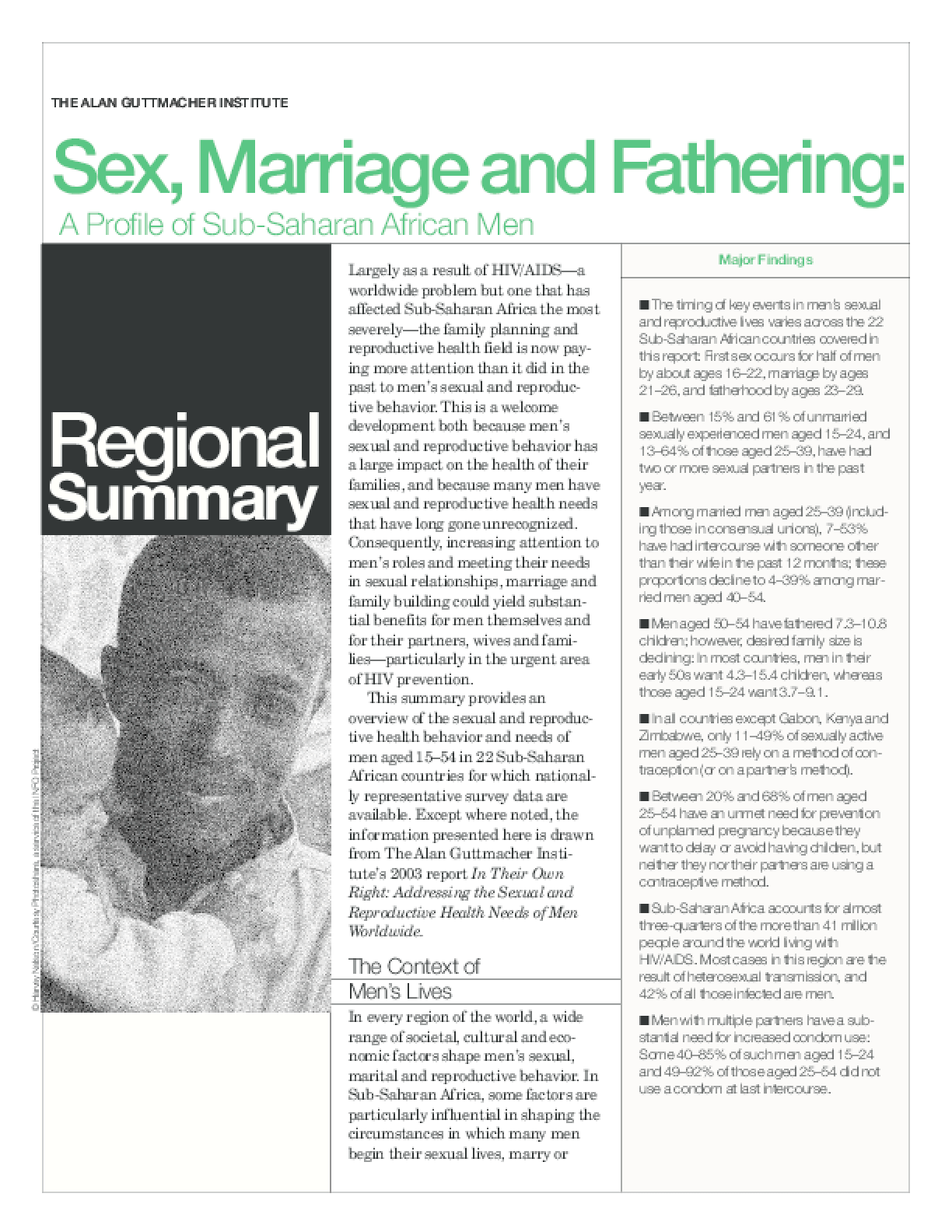 Sex, Marriage and Fathering: A Profile of Sub-Saharan African Men