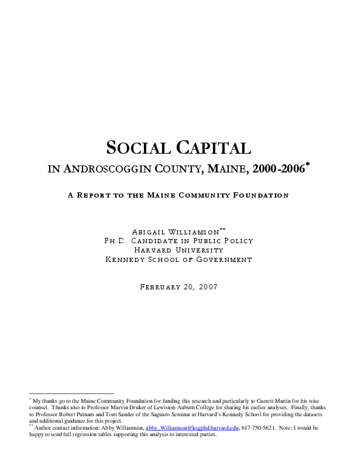 Social Capital in Androscoggin County, Maine, 2000-2006: A Report to the Maine Community Foundation