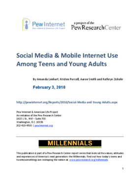 Social Media & Mobile Internet Use Among Teens and Young Adults