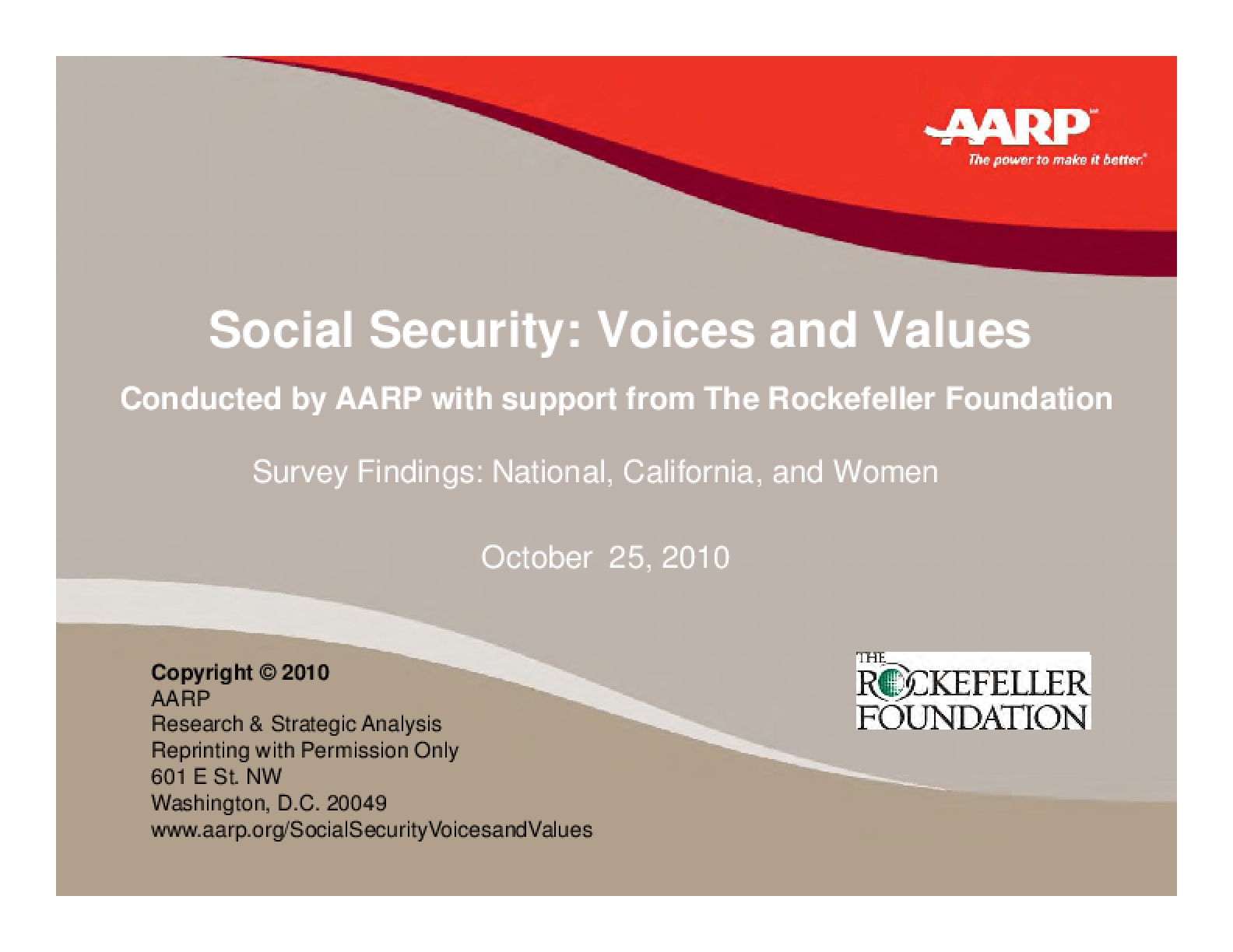 Social Security: Voices and Values