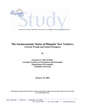 The Socioeconomic Status of Hispanic New Yorkers: Current Trends and Future Prospects