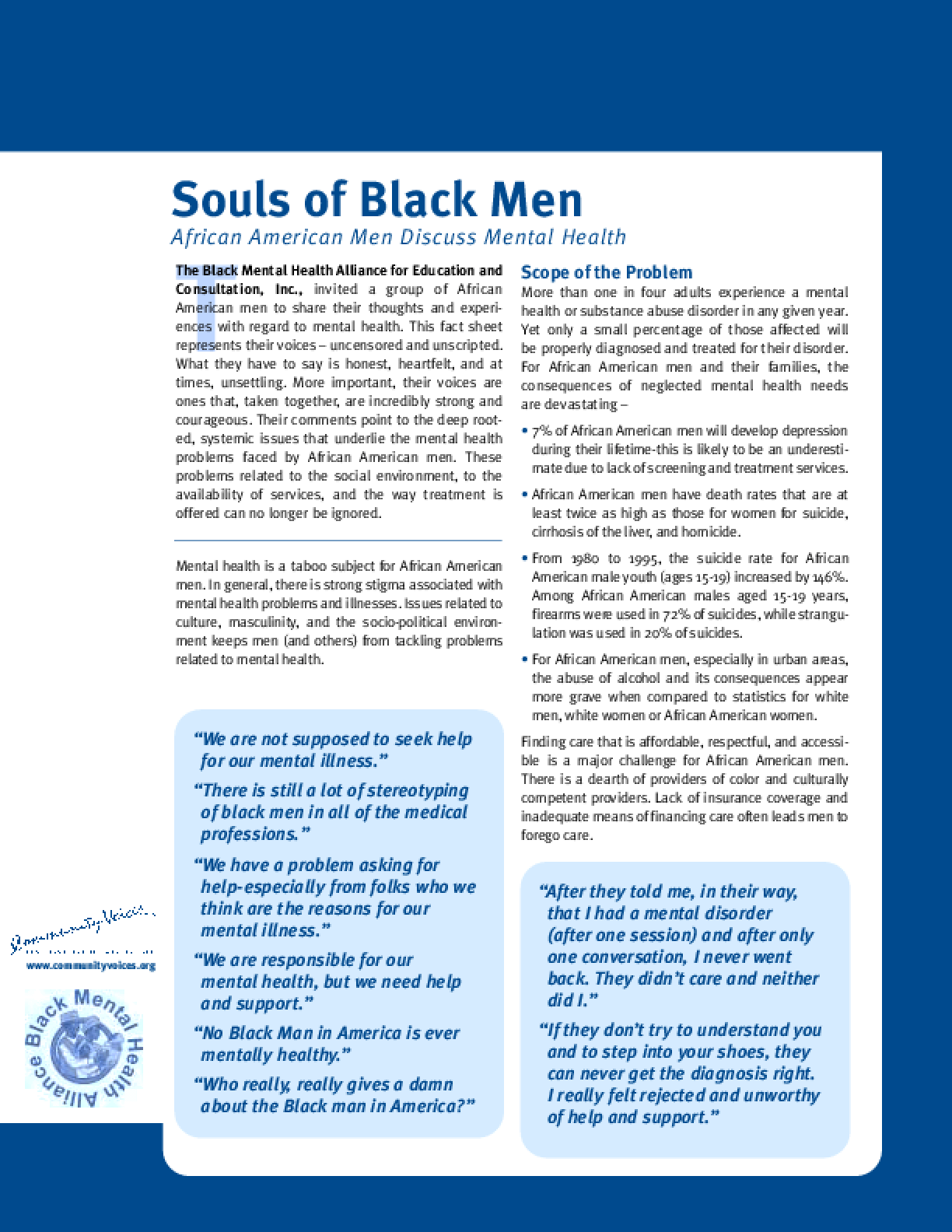 Souls of Black Men: African American Men Discuss Mental Health