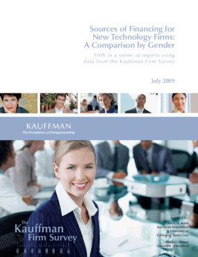 Sources of Financing for New Technology Firms: A Comparison by Gender