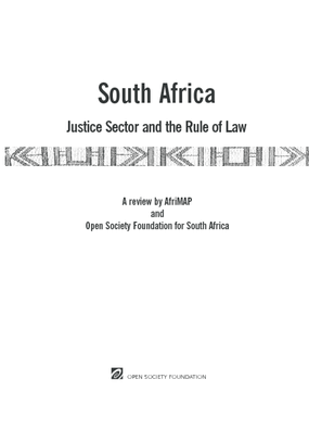 South Africa: Justice Sector and the Rule of Law