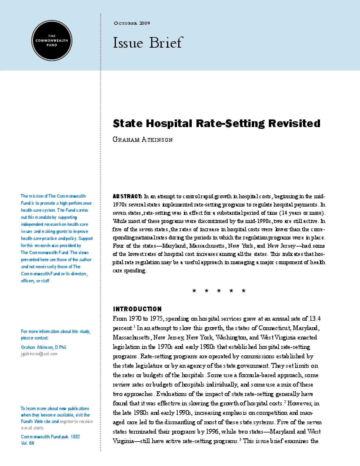 State Hospital Rate-Setting Revisited