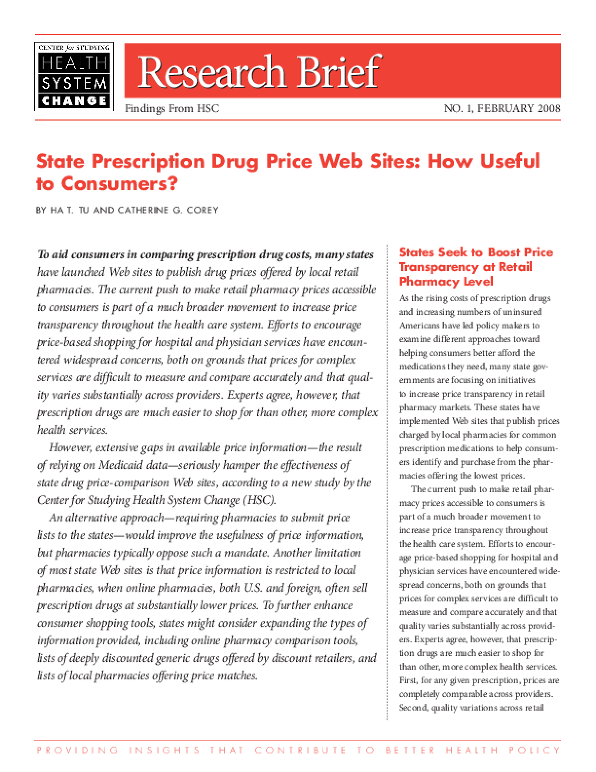State Prescription Drug Price Web Sites: How Useful to Consumers?