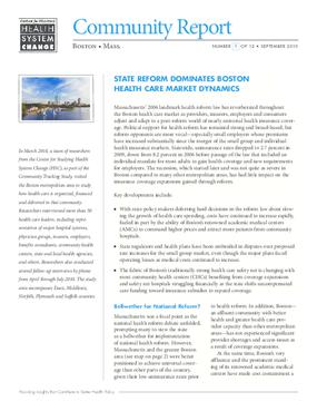 State Reform Dominates Boston Health Care Market Dynamics