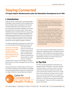 Staying Connected: A Progress Report: Reimbursement Under the Telemedicine Development Act of 1996