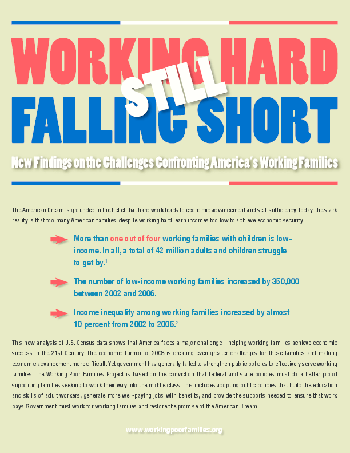 Still Working Hard, Still Falling Short: New Findings on the Challenges Confronting America's Working Families