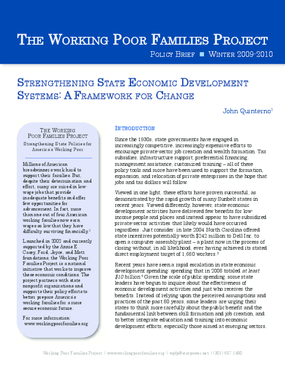 Strengthening State Economic Development Systems: A Framework for Change