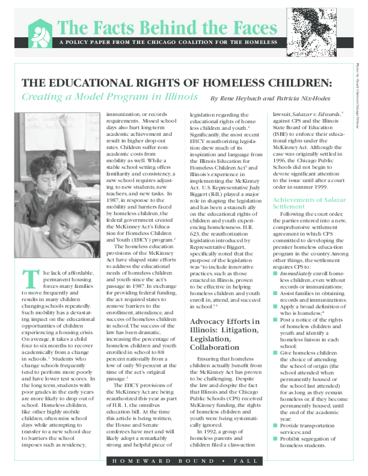 Educational Rights of Homeless Children: Creating a Model Program in Illinois